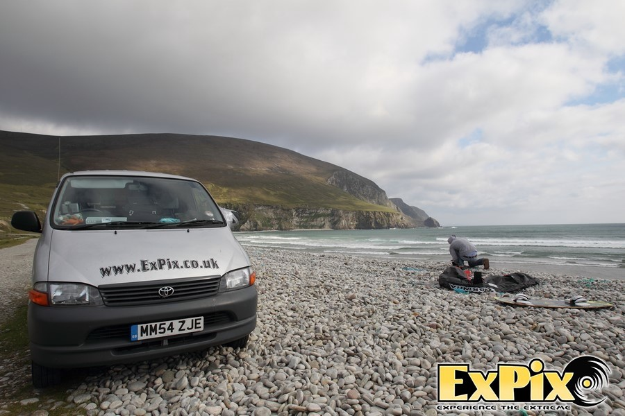 ExPix van on a beach in Ireland
